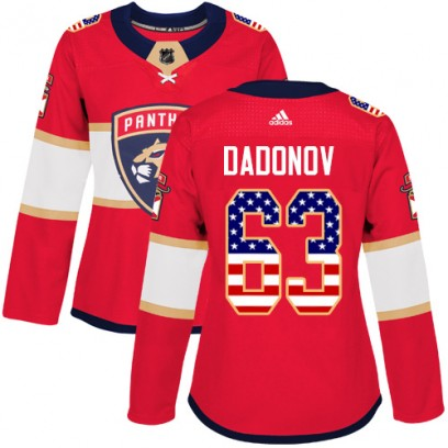 Women's Authentic Florida Panthers Evgenii Dadonov Adidas USA Flag Fashion Jersey - Red