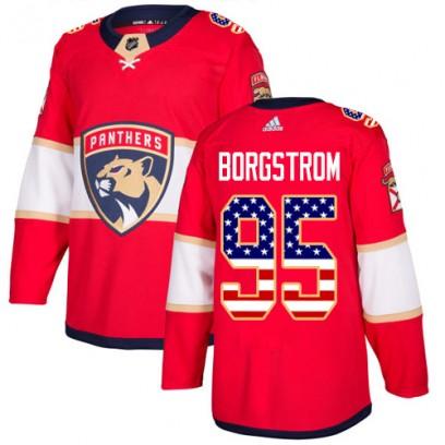 Men's Authentic Florida Panthers Henrik Borgstrom Adidas USA Flag Fashion Jersey - Red