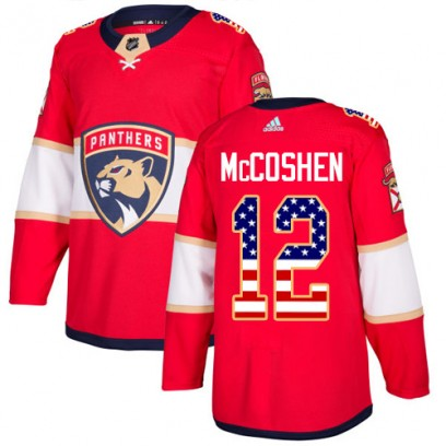 Men's Authentic Florida Panthers Ian McCoshen Adidas USA Flag Fashion Jersey - Red