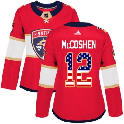 Women's Authentic Florida Panthers Ian McCoshen Adidas USA Flag Fashion Jersey - Red