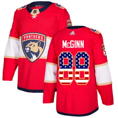 Men's Authentic Florida Panthers Jamie McGinn Adidas USA Flag Fashion Jersey - Red