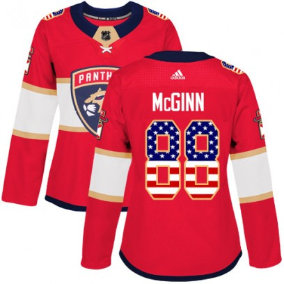 Women's Authentic Florida Panthers Jamie McGinn Adidas USA Flag Fashion Jersey - Red