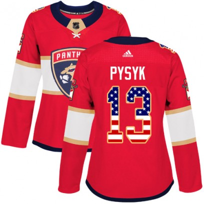 Women's Authentic Florida Panthers Mark Pysyk Adidas USA Flag Fashion Jersey - Red